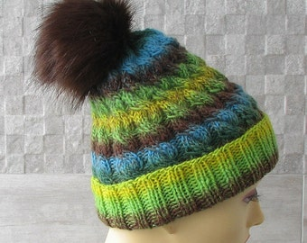 Fur Pom Pom Hat,  Men knit hat, Colorful knit hat, WinterAccessories