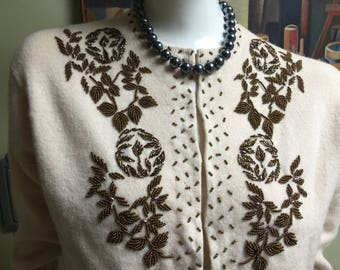Beautiful Authentic Vintage 50s Pin-up Girl Beaded Cardigan