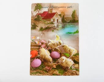 Antique photo postcard from 30s - Vintage Postcard - 1930's Postcard - Easter postcard -egg and chicks