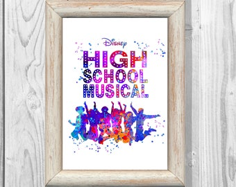 High School Musical Poster  Watercolor Musical Print Kids Decor Giclee  High School Musical  Wall Decor Home Decor Instant Digital Download