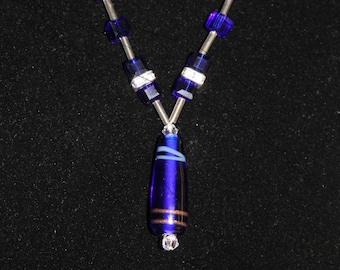 Cobalt Blue cube glass beaded necklace