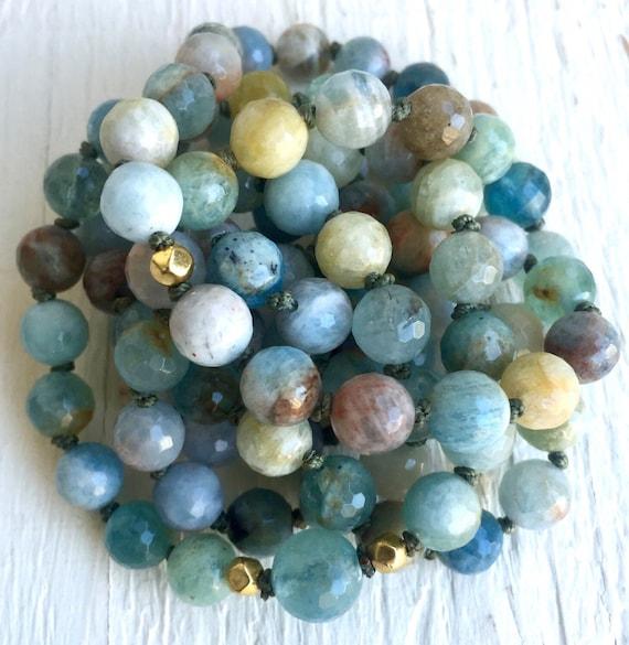 108 Faceted Aquamarine Mala Beads, 18K Gold, Continuous Strand, Mala Bracelet, Throat Chakra Mala Beads, March Birthstone, Yoga Jewelry