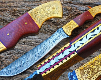 """8.4"""" Damascus Blade Collector Hunting Knife w/Engraved Brass Bolsters, Linen Micarta, File-Work, custom made Sheath UDK-F-16"""