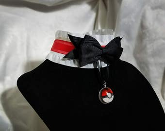Pokemon Bowtie choker, Pokeball Pendant Choker with Collar