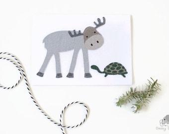 Woodland greeting card, handsewn woodland card, woodland card moose and turtle, handmade card, handstitched card, greeting card blank