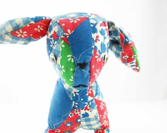 Vintage, Early 1950s Quilted Dog - Google Eyes and Hand-Sewn Mouth and Nose - Quilted Fabric in Blue, White, Red and Green - Fun Stuffed Dog
