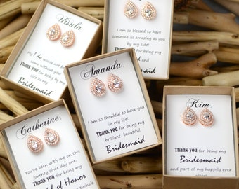 bridesmaid gifts studs earrings Rose Gold Bridal earrings Wedding jewelry Crystal Wedding earrings Bridal jewelry
