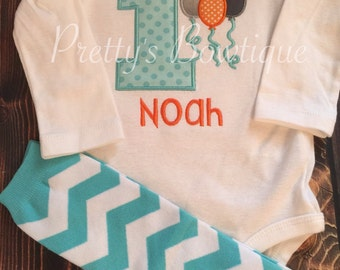 1st Birthday Boy Outfit with Leg Warmers and Personalized with Name
