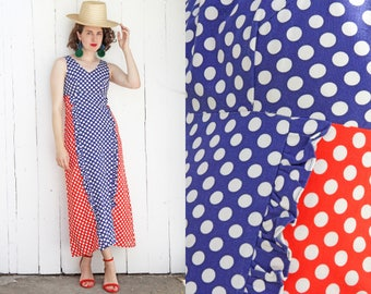 Vintage 70s Dress | 70s Polka Dot Ruffle Cotton Maxi Dress Sleeveless Red White Blue | Small S
