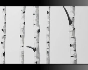 "Original textured acrylic ""White birch tree 05"" abstract landscape painting modern wall decor 36"" by 18"" inch"