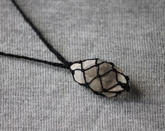 Clear Quartz Macrame Necklace - Black