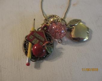 Pretty School Teacher Pendant Necklace, Teacher Gift, Schoolhouse Pendant Necklace