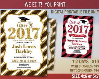 Graduation Invitation, Graduation Announcement, Graduation Party Invitation, Digital File to Print, Class of 2017, DIY