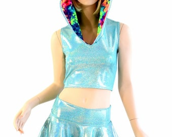 Sleeveless Seafoam Holographic Crop Hoodie & Mini Skirt Set with Acid Splash Spikes and Hood Lining Festival Outfit Rave 154297