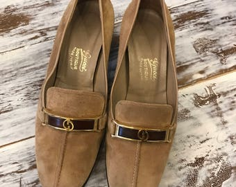 Gucci Loafer Stacked Heel Oxfords Suede Camel 36.5/37 Made in Italy