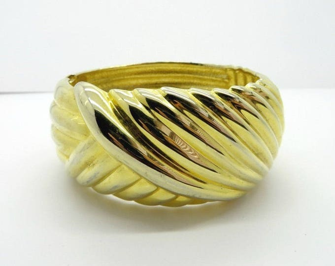 Chunky Swirl Bangle Vintage Gold Tone Hinged Cuff Wide Bangle Bracelet Gift for Her, FREE SHIPPING