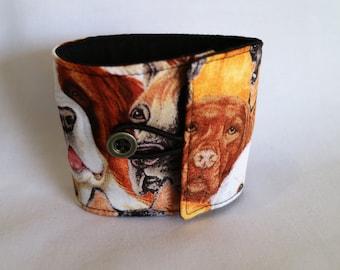 Dog print Reusable coffee cozie/sleeve.
