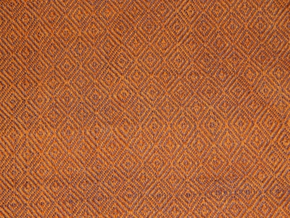 Hand woven, 100% wool, Pumpkin Orange/Milk Chocolate Brown Diamond Twill, garment weight