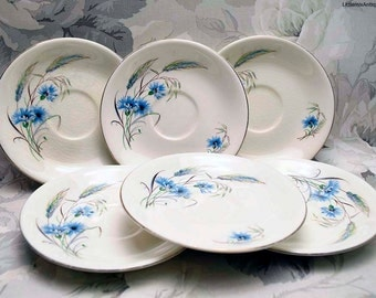 Set of 6 Vintage Alfred Meakin 'Jayne' Pattern England Blue Cornflowers and Wheats China Saucers China Tableware