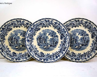 Set of 3 Vintage Booths Silicon China Made in England 'British Scenery' Blue and White Salad Plates Impressed nr. 922 September 1922