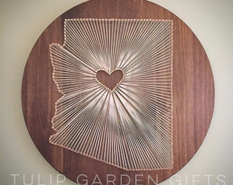 Heartstrings State String Art Round Wooden Wall Hanging, State Thread Art, Fiber Art