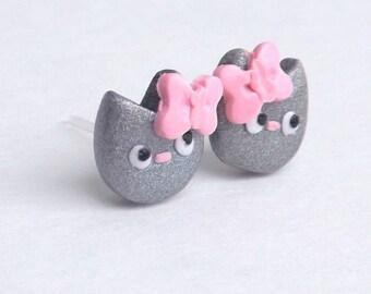Cat Jewelry - Silver Cat Earrings - Stud Earrings - Dainty Earrings - Hypoallergenic - Gift for Her - Cute Stud Earrings - Sensitive Ears