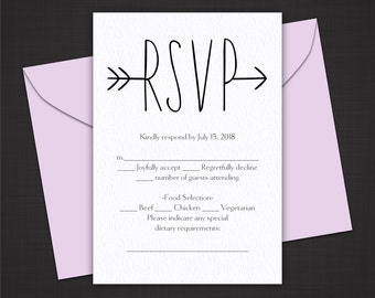 Wedding RSVP Cards - Digital Download - Printable Template - Modern Arrow 7SMOD