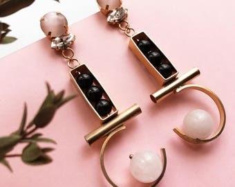 Gold long earrings Rose quartz  Black Stone earrings Earrings pearl and crystal
