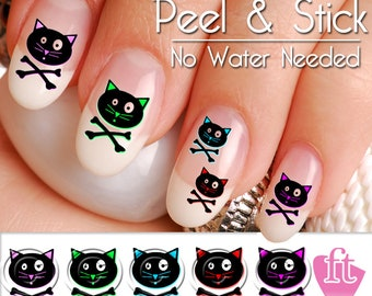 Cute Colorful Cat Skull and Cross Bone Nail Art Decal Sticker Set CAT901