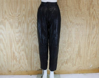 Vintage 1980's CEDARS Black Leather High Waist Tapered Rocker Pants S / M 26 27 28 X 30