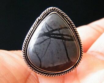 Natural Paintbrush Jasper Ring, Silver Overlay Handmade Ring, Designer Gemstone Ring, Ring Size - 8 (US), Adjustable Ring SH-2641