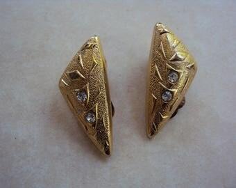 Vintage eighties nineties goldtone diamante triangular clip on earrings