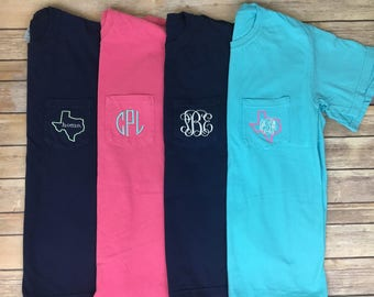 Monogram Pocket Tee, Comfort Colors pocket tee, monogram t shirt, monogram tee, pocket tee, personalized, monogrammed pocket tee,monogrammed