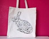 Rabbits Aren't Just For Easter (Black) Large Handprinted Gusset Tote Bag