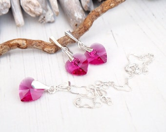 Swarovski Fuchsia Heart Earring Necklace Set- Swarovski Crystal Jewellery-Sterling Silver Heart Dangle Earring Necklace-Bridesmaides Gift