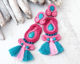 Turquoise pink tassel soutache earrings Large statement earrings Gemstone earrings Hippie boho tassel earrings Teal pink beaded earrings