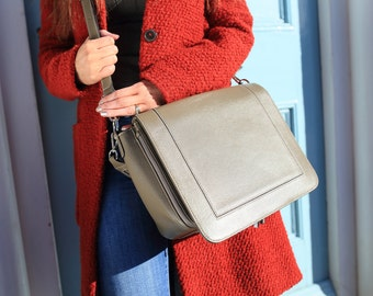 Grey Leather Bag / Grey Leather handbag /  Grey Leather Purse / Leather Messenger Bag /  Leather Bag / Leather Handbag / Leather Messenger