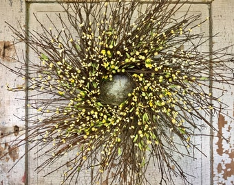 Brush Twig and Mixed Pip Berry Wreath Green & Yellow - 26""