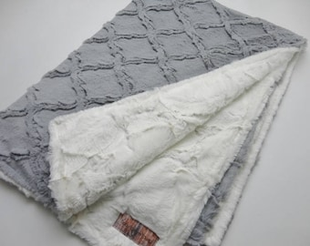 Silver and Ivory Minky Baby Blanket - Gender Neutral,  Made to Order
