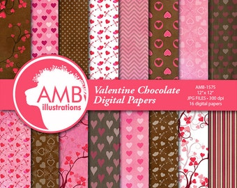 Valentine Digital Papers, Chocolate Heart Digital Papers, Valentines Day Papers, Commercial Use, Scrapbook, Backgrounds, AMB-1575