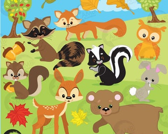 Forest Critters clip art, forest clipart, forest animal clipart, woodland animal clipart, Deer clipart, bear clipart, fox clipart, AMB-371