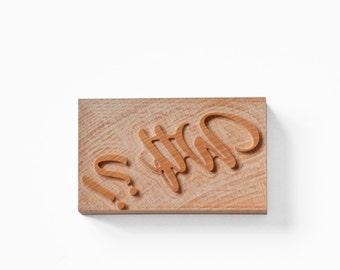"Letterpress Catchword ""Wtf"" wood type"