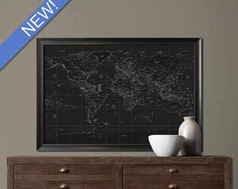 Framed Push Pin Travel Map, Personalized World Map, Black & White Solid Wood Framed Push Pin Travel Pap, Travel map, push pin travel map