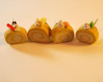 Swiss roll earrings - food jewelry