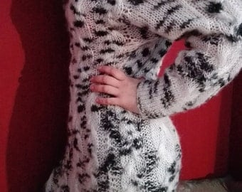 DISCOUNTS! Knit Jumper, Cable Knit Tunic, Knit Dress, Dalmatian Jumper, Dalmatian Tunic, Knit Pullover, Knitt Dress, Was 225USD, Now 175USD