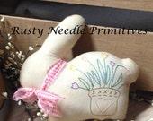 Stuffed Bunny Rabbit with Hand Embroidered Tulip Bucket Folkart Stitchery