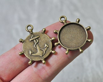 15pcs 20mm Pad Antique Bronze Round Cameo Cabochon Base Setting Resin Flower Anchor Pattern Charm Pendant N522