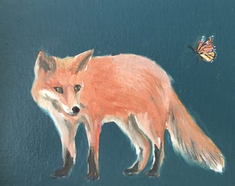 """Original Oil Painting 8"""" x 6"""" Daily painting fox butterfly gift small"""