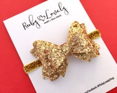 Baby Gold Glitter Bow, Gold Christmas Bow, Gold Christmas Headband, New Years Eve Bow, Gold Birthday Bow, Gold Sparkle Bow