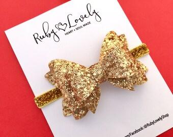 Baby Gold Glitter Bow, Gold Headband, Gold Christmas Hair Bow, 4th July Headband, Gold Birthday Bow, Gold Sparkle Bow